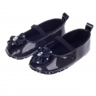 Noble Flower & Rhinestone Baby Shoes - Black (6~9 Months / Pair)