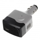 BEAUTY-CAR 6W DC 12V to AC 220V Car Power Inverter w/ USB Port - Grey + Black