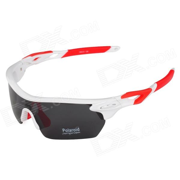 CARSHIRO T9369-C5 Outdoor Cycling Polarized UV400 Protection Sunglasses Goggles - White + Red carshiro 9384 cycling polarized uv400 protection sunglasses black red