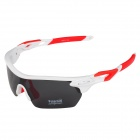 CARSHIRO T9369-C5 Outdoor Cycling Polarized UV400 Protection Sunglasses Goggles - White + Red