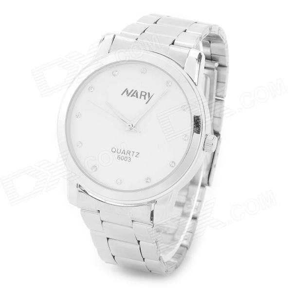 NARY ZEA-QLB-01 Fashion Stainless Steel Quartz Analog Wrist Watch for Men - Silver + White (1 x 377)