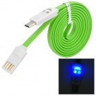 USB to Micro USB Data/Charging Cable w/ Smiley Face Light for Samsung Galaxy S4 i9500 - Green