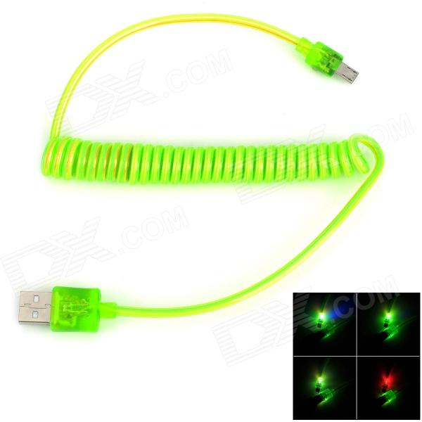 USB Male to Micro USB Male Data Charging Spring Cable for Samsung w/ Visiable Colorful Light - Green charging docking station w usb data charging cable for samsung galaxy note i9220 black