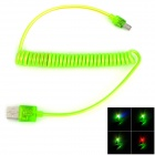 USB Male to Micro USB Male Data Charging Spring Cable for Samsung w/ Visiable Colorful Light - Green