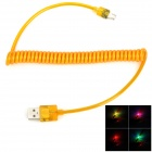 USB Male to Micro USB Male Charging Data Spring Cable for Samsung w/ Visible Colorful Light - Orange