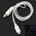 USB Male to Micro USB Male Data Charging Cable w/ Visible Colorful Light for Samsung - White
