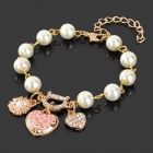 Gold Plating Pearl Heart Shape Pendant Bracelet - Golden + White