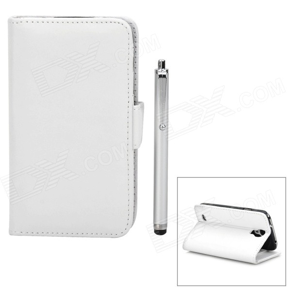 Stylish Protective PU Leather Case w/ Stylus Pen for Samsung Galaxy S4 i9500 - White cm001 3d skeleton pattern protective plastic back case for samsung galaxy s4