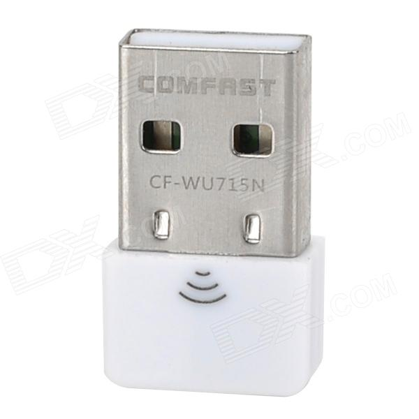 COMFAST CF-WU715N Mini USB 2.0 IEEE802.11 b/g/n 150Mbps 2dBi Wi-Fi Network Adapter - White comfast full gigabit core gateway ac gateway controller mt7621 wifi project manager with 4 1000mbps wan lan port 880mhz cf ac200