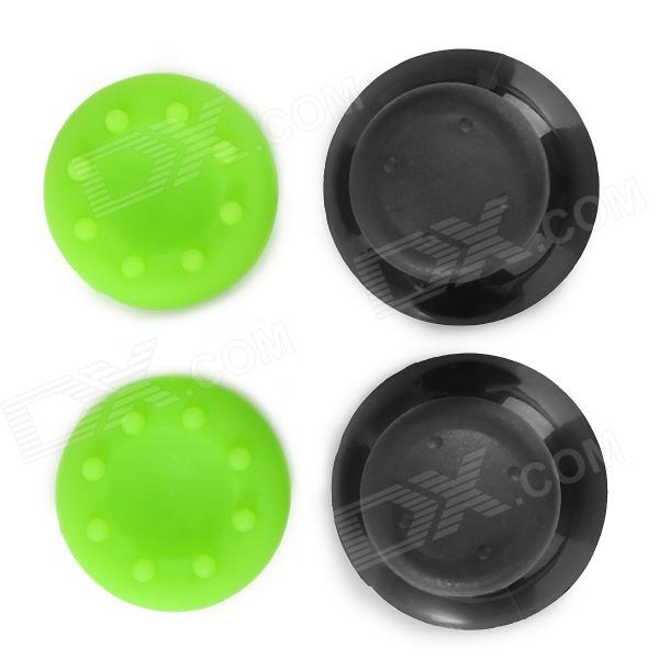 Replacement Plastic Rocker Cap + Nonslip Silicone Cap Set for XBOX360 - Green + Black 6pcs lot soft thumb grips thumbstick joystick high enhancements cover caps skin fit for sony play station 4 ps4 ps3 xbox 360