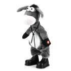 Funny Electric Shake Head Moving Plush Donkey Toy - Gray + White (3 x AA)