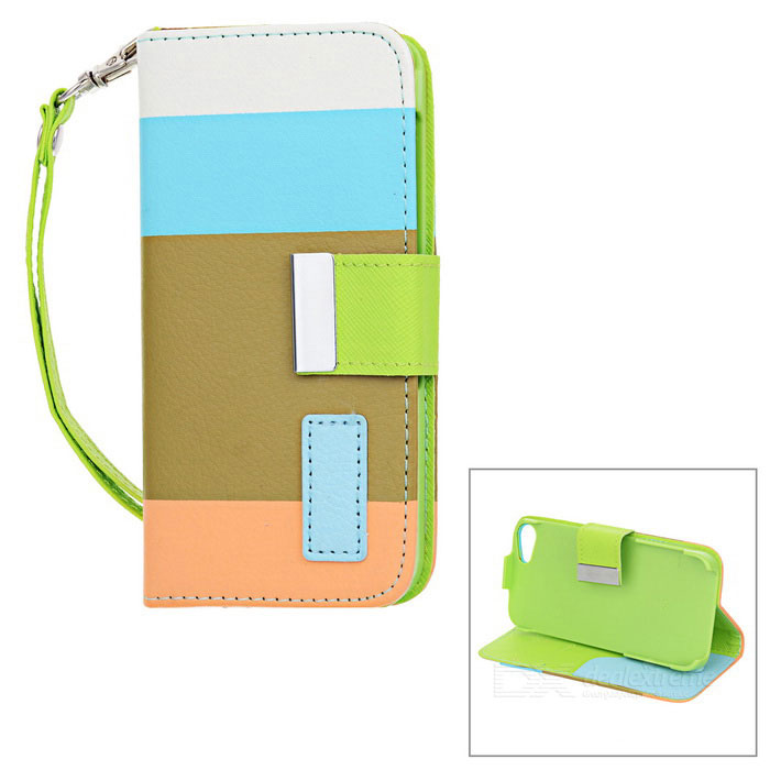 Protective PU Leather Case w/ Hand Strap for Iphone 5 - White + Blue + Olive Green + Orange