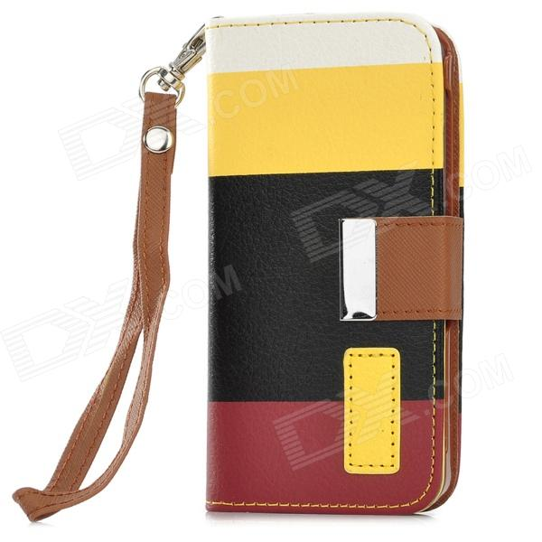 Protective PU Leather Case w/ Hand Strap for Iphone 5 - White + Yellow + Black + Dark Red circle pattern protective pu leather case w strap for iphone 4 5 4s red