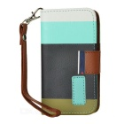 Stylish Protective PU Leather Case for Iphone 4 / 4S - Blue + Brown + Green + White
