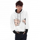 HYT5128 Men's Stylish Squeezing Hand Pattern Cotton + Polyester Fiber Hoodie - Black + White (XL)