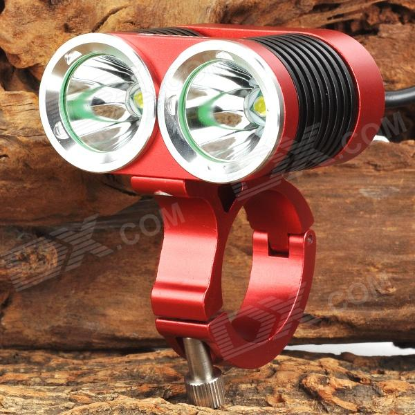 UltraFire MT-22A 1200lm 4-Mode White Bicycle Light w/ 2 x CREE XM-L U2 - Red + Black (4 x 18650) ultrafire 860lm 3 mode white bicycle headlamp w cree xm l t6 red black 4 x 18650