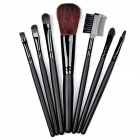 B7A-7 Professional 7-in-1 Cosmetic Makeup Brushes Set w/ Bag - Black