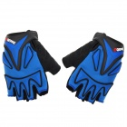 Qepae F038 Sports Cycling Non-slip Half Fingers Gloves - Black + Blue (Size XL)