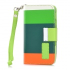 Protective PU Leather Case w/ Hand Strap for Iphone 4 / 4S - Dark Green