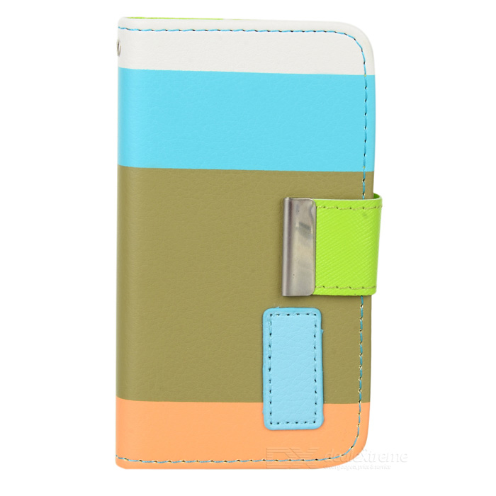 Protective PU Leather Case w/ Hand Strap for Iphone 4 / 4S - White + Blue + Olive Green + Orange circle pattern protective pu leather case w strap for iphone 4 5 4s red