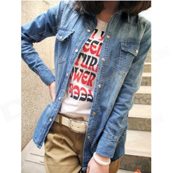 Woman's Fashionable Jeans Wear Coat - Blue