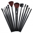 B12A Professional 12-in-1 Cosmetic Makeup Brushes Set w/ Bag - Black