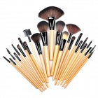 B24A professionelles 24-in-1 Kosmetik Make-up Pinsel Set w / Bag - Schwarz + Holz