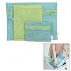 Travel Zippered Bag + Draw Cord Bag + PE Storage Bag Set - Blue + Green (4 PCS)