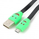 Car Charger + USB to Micro USB Data Cable w/ Smiley Face Indicator Light for Samsung i9500 - Black
