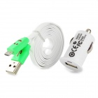 Car Charger + USB to Micro USB Data Cable w/ Smiley Face Indicator Light for Samsung i9500 - White