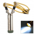 YERENBULUO Stainless Steel Slingshot + LED White Flashlight - Silver (1 x AA)