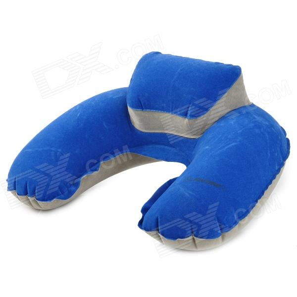 JOYTOUR U Shaped Travel Air Inflatable Cushion Neck Pillow w/ Blinder + Earbud - Blue + Grey blinder m45 x treme