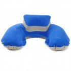 JOYTOUR U Shaped Travel Air Inflatable Cushion Neck Pillow w/ Blinder + Earbud - Blue + Grey