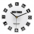 GeeKCooK GK1310004 Novel Web2.0 Icon Wall Clock - White (1 x AA)