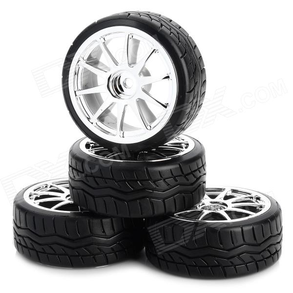 6003-9016 Replacement Tyre / Tire for 1:10 Drift Vehicle Car - Black + Silver (4 PCS) 1 10 rubber on road racing car model replacement tire black 4 pcs