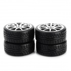 6003-9016 Replacement Tyre / Tire for 1:10 Drift Vehicle Car - Black + Silver (4 PCS)
