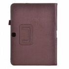 Lychee Pattern Protective PU Case w/ Stand for Samsung Galaxy Tab 3 10.1 P5200 - Brown