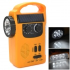 TEKNIKA RD-339 Solar Power / Hand Crank Emergency Camp Light w/ Flashlight / Radio - Orange + Black