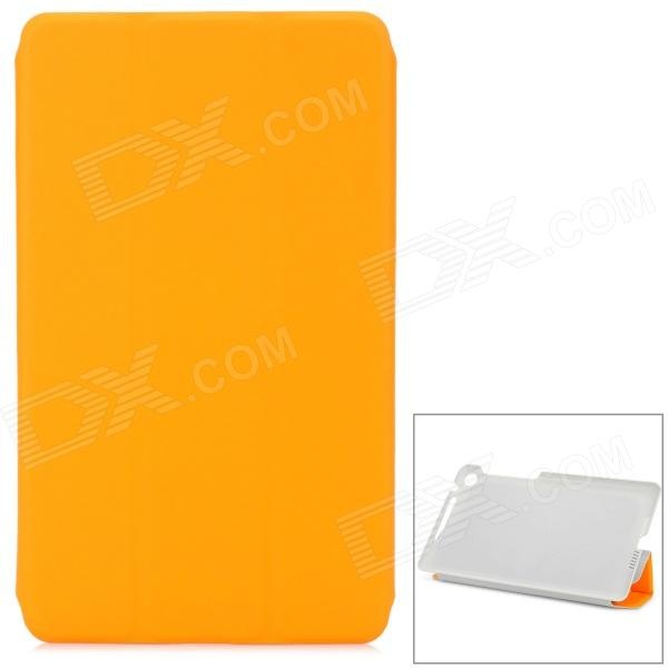 Cross Pattern Protective 3-Fold PU Leather Case for Google Nexus 7 - Orange + Grey lichee pattern protective pu leather case stand w auto sleep cover for google nexus 7 ii white