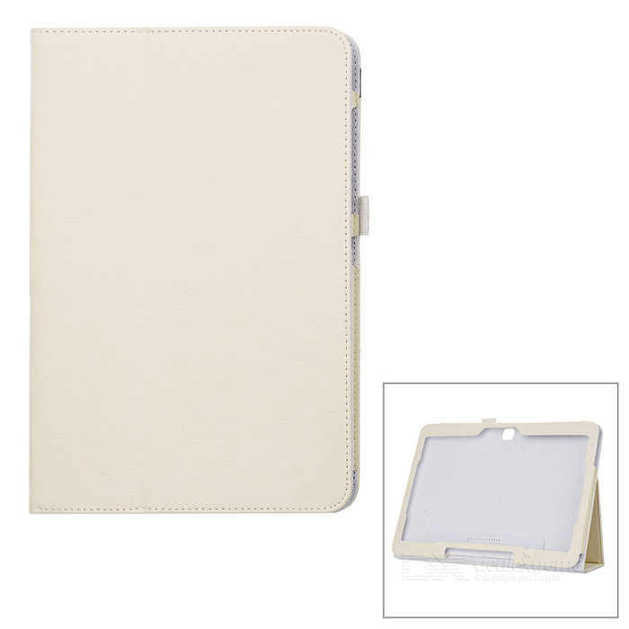 Lychee Pattern Protective PU Case w/ Stand for Samsung Galaxy Tab 3 10.1 P5200 - White