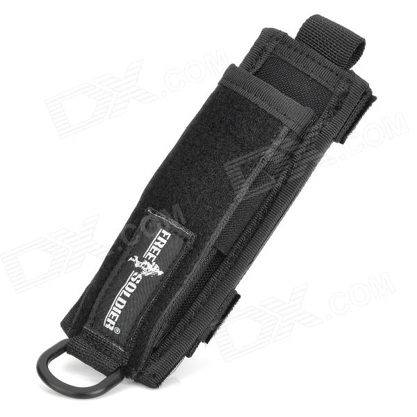 Free Soldier Multifunction Outdoor Nylon MOLLE Flashlight Holster Carrying Bag - Black