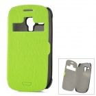Protective PU Leather Case w/ Display Window for Samsung Galaxy S3 Mini i8190 - Green+ Black