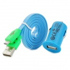 Car Charger + USB to Micro USB Data Cable w/ Smiley Face Indicator Light for Samsung i9500 - Blue