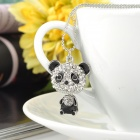 Cute Panda Style Crystal Pendant Necklace - Black + Silver