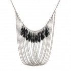 Vintage Fashion Crystal Pendant Necklace - Black