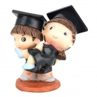 9419 Happy Graduates Figure Resin Toy - Black + Brown (2 PCS)