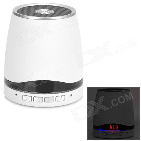 """IS-08 1"""" LCD Bluetooth v3.0 2-Channel Speaker w/ Microphone - White + Black + Silver"""