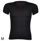 ARSUXEO Sports Running Men's V-Neck Short Sleeve Tight T-Shirt - Black (Size M)