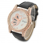 Yerryda 1005 Butter Fly Pattern Crystal Round Dial PU Leather Band Quartz Watch - Black (1 x AG4)