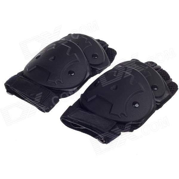Stylish Hard Shell Style Tactical Protective Half-Finger Gloves -Black (Size-L / Pair)